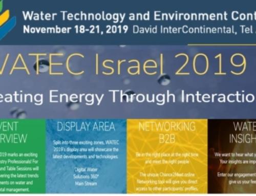 WATEC Israël, la Conférence sur l'eau la plus innovante du monde en novembre 2019.